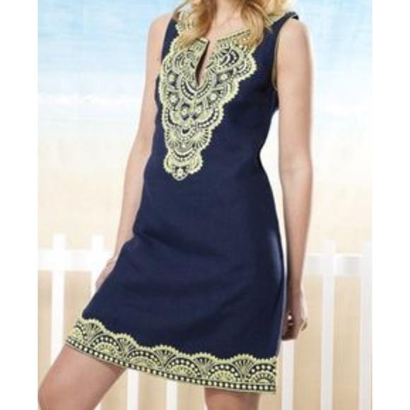 e0383fe300a bella tu Dresses & Skirts - Bella Tu Ana Navy Linen Shift Dress